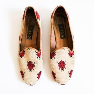Vintage Zalo Needlepoint Lucky Ladybug Loafers 9.5